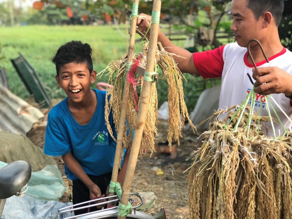 These rice panicle bundles are Thant Zin Phyo's family's main source of income. Despite this not providing nearly enough money to support the family of 15, Thant Zin Phyo does not lose his smile. (@UNESCO/H.Lee)