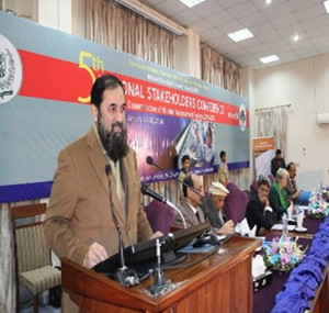 Engr Muhammad Baligh ur Rehman, Federal Minister for Education, addresses the opening ceremony of the conference.