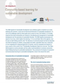 Community-based learning for sustainable development, policy guide in the light of the 2030 Agenda for Sustainable Development